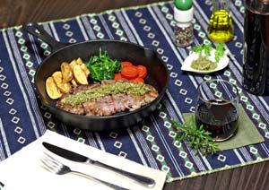 ステーキ肉とバジルソース